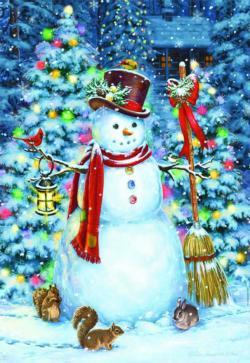 Woodland Snowman Snow Jigsaw Puzzle