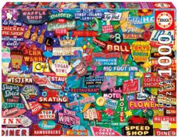 Retro Neon Dream Collage Jigsaw Puzzle