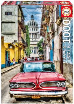 Vintage Car In Old Havana Nostalgic / Retro Jigsaw Puzzle