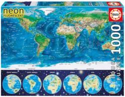 Neon World Map Geography Jigsaw Puzzle