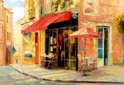 Hillside Café Street Scene Jigsaw Puzzle