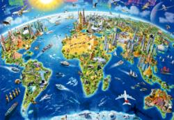 World Landmarks Globe Maps / Geography Jigsaw Puzzle