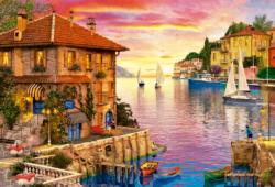 The Mediterranean Harbour - Scratch and Dent Sunrise/Sunset Jigsaw Puzzle