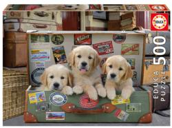 Puppies in the Luggage Dogs Jigsaw Puzzle