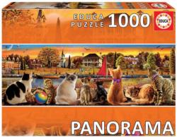 Cats On The Quay Cats Panoramic Puzzle