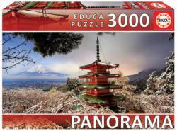 Mount Fuji & Chureito Pagoda, Japan Japan Panoramic Puzzle