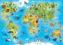 Animals World Map Maps / Geography Jigsaw Puzzle
