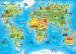 Monuments World Map Maps / Geography Large Piece
