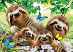 Sloth Family Selfie Flowers Jigsaw Puzzle