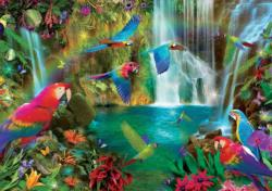 Tropical Parrots Waterfalls Jigsaw Puzzle