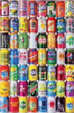 Soft Drink Cans, 1000 Piece Miniature Puzzle Food and Drink Miniature Puzzle