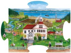 Dungeness School Shaped Puzzle - Scratch and Dent Folk Art Jigsaw Puzzle