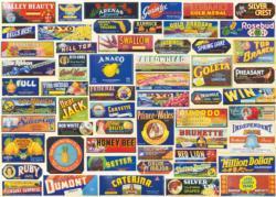 Vintage Crate Labels Pattern / Assortment Jigsaw Puzzle