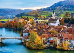 Swiss River Village Lakes / Rivers / Streams Jigsaw Puzzle