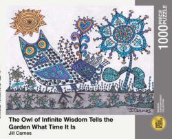 The Owl Of Infinite Wisdom Tells The Garden What Time It Is... Owl Jigsaw Puzzle