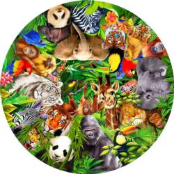Wild Animals Jungle Animals Round Jigsaw Puzzle