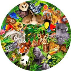 Wild Animals Jungle Animals Round Jigsaw Puzzle