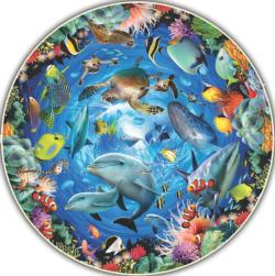 Ocean View Under The Sea Round Jigsaw Puzzle