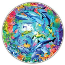 Underwater World (Round Table Puzzle) Marine Life Round Jigsaw Puzzle