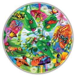 Creepy Critters (Round Table Puzzle) Reptiles and Amphibians Round Jigsaw Puzzle