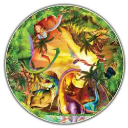 Dinos (Kids' Round Table Puzzle) Dinosaurs Shaped
