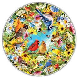 Backyard Birds (Round Table Puzzle) Round Jigsaw Puzzle