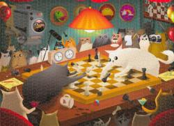 Cats Playing Chess Cartoon Jigsaw Puzzle