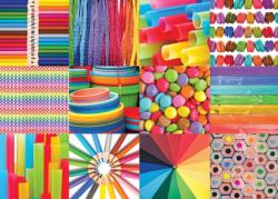 Colorful Collage Pattern / Assortment Jigsaw Puzzle