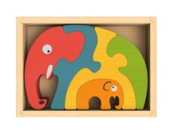 Elephant Family Puzzle Elephants Wooden
