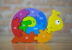 Number Snail Puzzle Animals Wooden Jigsaw Puzzle