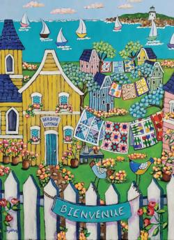 Seaside Cottage and Quilts Cottage / Cabin Jigsaw Puzzle