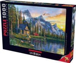 Sunset Cabin Lakes / Rivers / Streams Jigsaw Puzzle