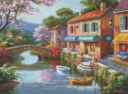 Quaint Village Shops Lakes / Rivers / Streams Jigsaw Puzzle