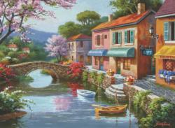Quaint Village Shops Lakes / Rivers / Streams Jigsaw Puzzle