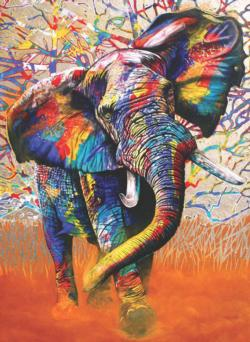 African Colours Elephants Jigsaw Puzzle