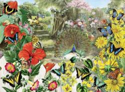 Peacock in the Garden Flowers Jigsaw Puzzle