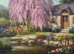 Cherry Blossom Cottage Cottage / Cabin Jigsaw Puzzle