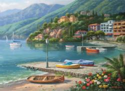 Hillside Harbor Cove Seascape / Coastal Living Jigsaw Puzzle