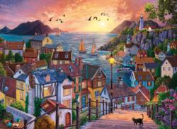 Coastal Town At Sunset Sunrise / Sunset Jigsaw Puzzle