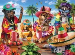 Dogs Drinking Smoothies On A Tropical Beach Fourth of July Jigsaw Puzzle