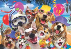 Beach Party Selfie Dogs Jigsaw Puzzle