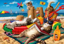 Cats on the Beach Fourth of July Jigsaw Puzzle