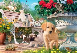 Pets Hide and Seek Flowers Jigsaw Puzzle