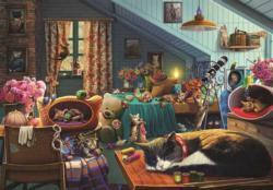 Kitten Play Bedroom Domestic Scene Large Piece