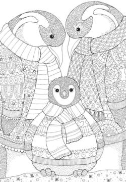 Coloring Penguin Family Adult Coloring Coloring Puzzle