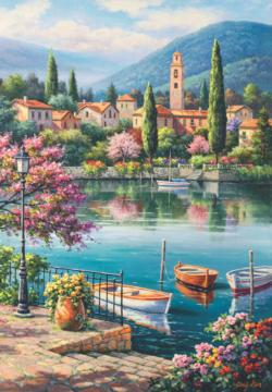Village Lake Afternoon Lakes / Rivers / Streams Jigsaw Puzzle