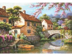 Country Village Canal Cottage / Cabin Jigsaw Puzzle