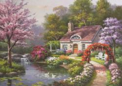 Spring Cottage In Full Bloom Cottage / Cabin Jigsaw Puzzle