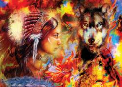 Wolf Maiden - Scratch and Dent Cultural Art Jigsaw Puzzle