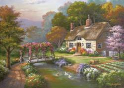 Rose Cottage Landscape Jigsaw Puzzle